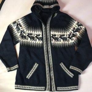 Alpaca zip hooded jacket